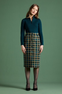 Pencil Button Skirt Rodeo Check