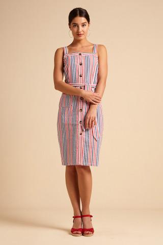 Beth Pinafore Dress Bellaria Stripe