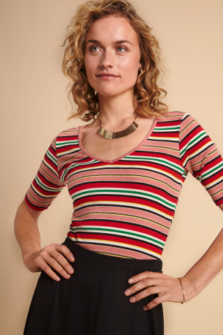 Carice V Top Poolside Stripe