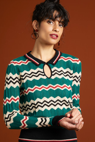 Collar Knit Top Sizzle