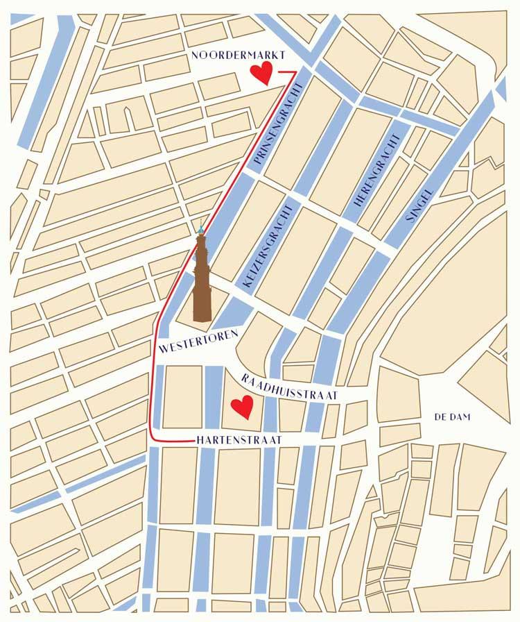 Walking route King Louie Store Noordermarkt